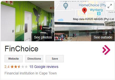 Finchoice loans on Google