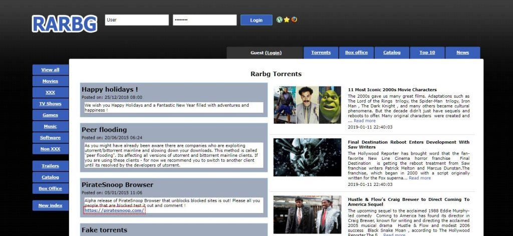 Páginas de torrent RARBG