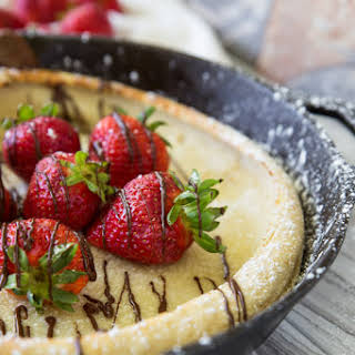 Chocolate Covered Strawberry Dutch Baby Pancakes.