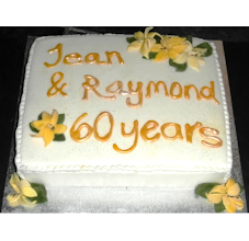 Photo: Special diamond anniversary Cake made from lemon sponge filled with buttercream