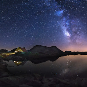 Silence by Atanas Donev - Landscapes Starscapes ( milky way, mountain, hut, stars, lake )