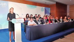Cospedal durante su participación en una reunión de la Junta Directiva Provincial del PP en Almería en septiembre del año pasado.