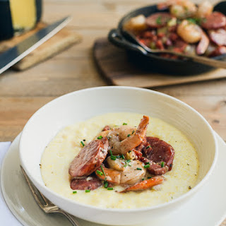 Shrimp and Smoked Sausage with Aged Cheddar Grits
