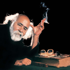 Midnight Scholar by Sami Ur Rahman - People Portraits of Men ( old book, smoking kills, backlight, studio portrait, zim, journalist )