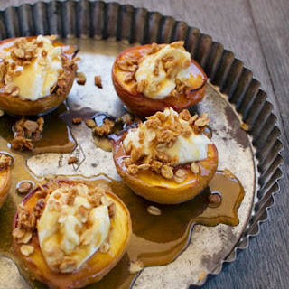 Baked Peaches with Mascarpone, Salted Caramel and Crumble.