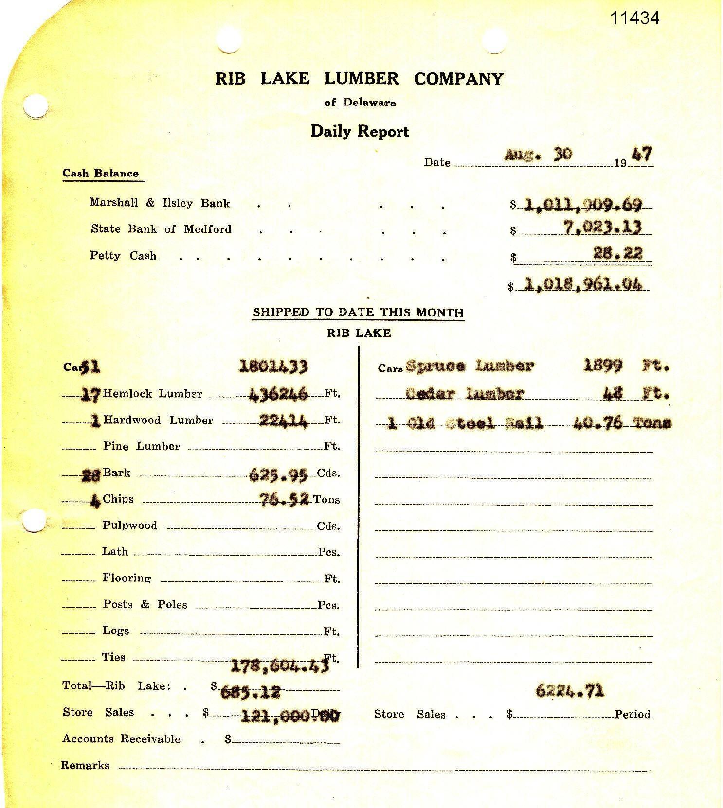 C:\Users\Robert P. Rusch\Desktop\II. RLHSoc\Documents & Photos-Scanned\Rib Lake History 11400-11499\11434-RLLC Daily Report 8-30-1947, NB_ bark sales 625.95 cords.jpg