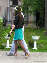 Photo: A Russian gal, with heels, flowers, AND a Tiara of flowers...just right to go to the zoo and watch monkeys groom each other
