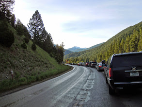 Photo: West road into Yellowstone: yes, road works again! Good thing we started early... wake up before 6am today!