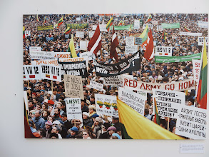 Photo: A photo on display in Cathedral Square.  Red Army Go Home!