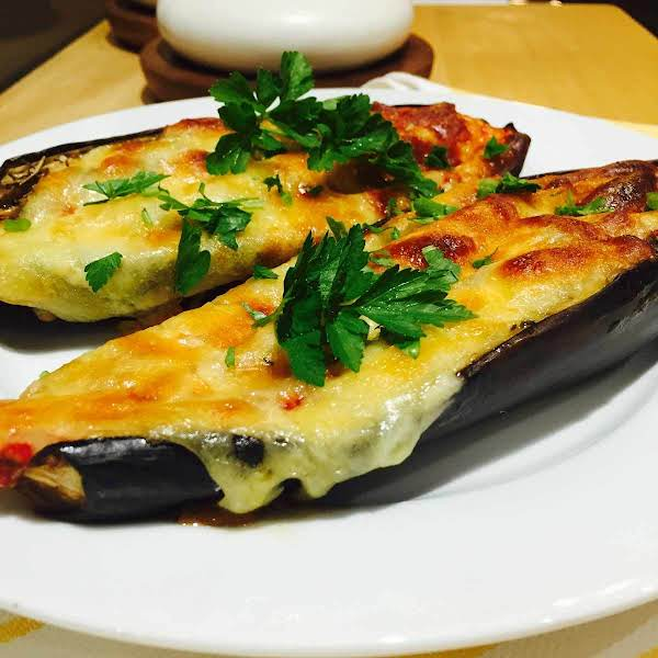 Tomato And Cheese Topped Aubergines Recipe