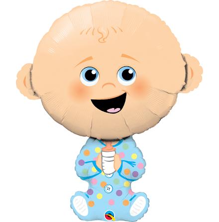 Folieballong - Baby, blå kläder