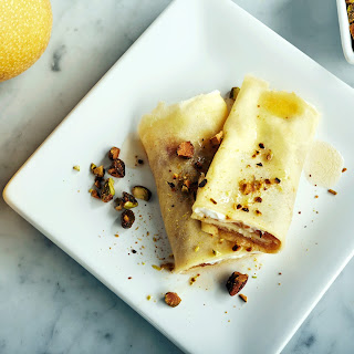 Caramelized Pear Crêpes with Pistachios.