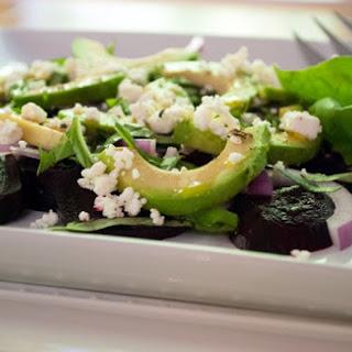 Beet and Avocado Salad with Feta Cheese and Basil.