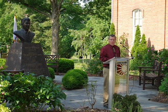 Photo: Bruce Fowlkes gives the introductory prayer at the Reagan Memorial 2013, Eureka College