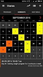 GymUp Pro workout notebook Screenshot