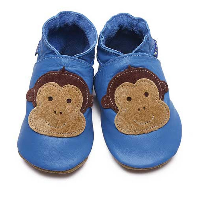 Inch Blue Soft Sole Leather Shoes - Cheeky Monkey Blue (6-12 months) by Berry Wonderful