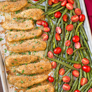 One Sheet Pan Roasted Garlic-Parmesan Chicken Tenders and Green Beans with Fresh Grape Tomatoes.