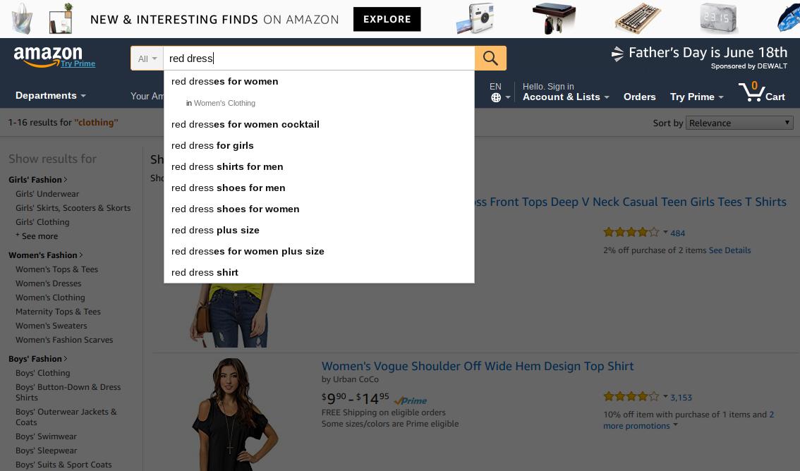 amazon search box category