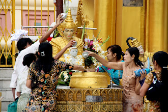 Photo: Year 2 Day 54 -  Worshippers Paying Homage to a Buddha in Shwedagon Paya in Yangon