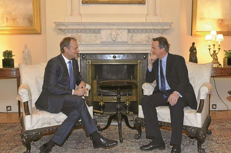British prime minister David Cameron negotiates with European Council president Donald Tusk at Downing Street. The EU unveiled draft plans for a renegotiated relationship with the UK this week. On the basis of EU reform set out in the plan, Cameron says he hopes to keep the UK inside the EU. Picture: GALLO IMGES/AFP/BRITISH PRIME MINISTRY