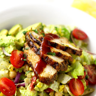 Easy Mexican Chopped Salad with Spiced Rubbed BBQ Chicken.