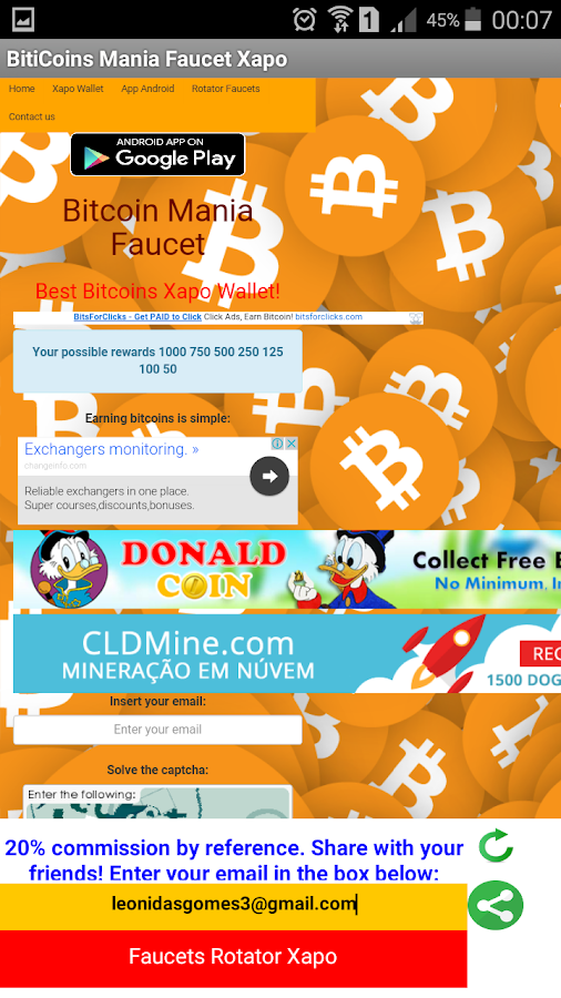 BitCoinMania Facets Xapo- screenshot
