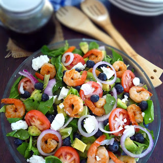 Shrimp Blueberry Salad with Goat's Cheese.