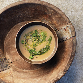 Sweet Potato & Maca Soup with Green Harissa.