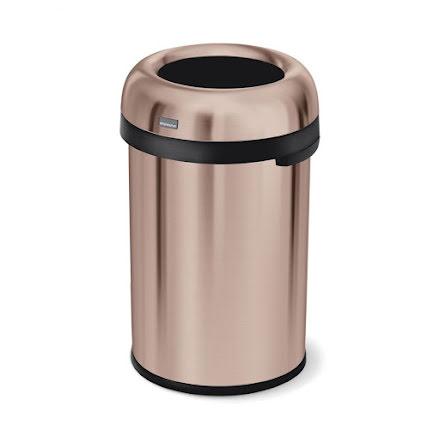 Öppen kulformad soptunna 115 liter, rosenguld stål