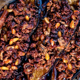 Stuffed Eggplant with Lamb and Pine Nuts.
