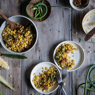 Charred Corn With Miso Butter, Bacon & Garlic Scapes..