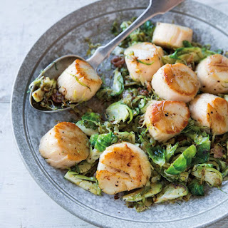 Seared Scallops with Warm Shredded Brussels Sprouts & Prosciutto