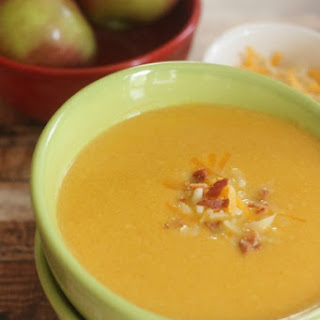 Apple & Cheese Soup featuring Kraft Shredded Cheese with a Touch of Philadelphia
