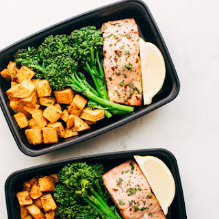 Lemon Roasted Salmon with Sweet Potatoes and Broccolini