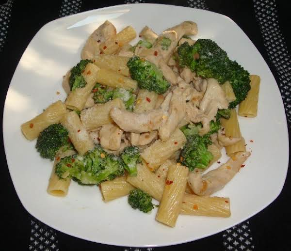 This Is A Great Dish Fresh Broccoli And Ziti And Strips Of Chicken Make Your Mouth Water, Fresh Sliced Garlic And A Touch Of Red Pepper Flakes Make This Dish Wonderful! You Can Omit The Chicken An Make This A Vegetarian Dish But Add Some Veg. Stock