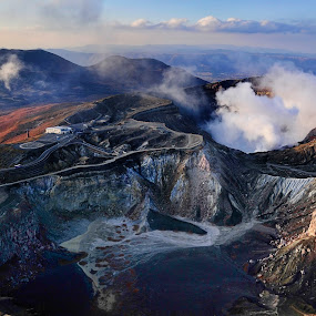 Mt ASO, Japan by William Cho - Landscapes Mountains & Hills ( mt aso, largest caldera in the world, active volcano, mountain, volcano, japan, kyushu, geopark, tourism, landscape, attraction )