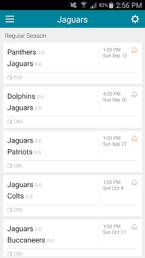 Football Schedule for Jaguars