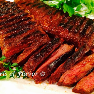 Grilled Skirt Steak with Cocoa Spice Rub.