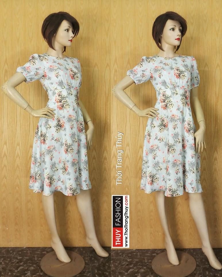 Váy xòe dài qua gối dáng công sở V632 tại Thời Trang Thủy Hải Phòng