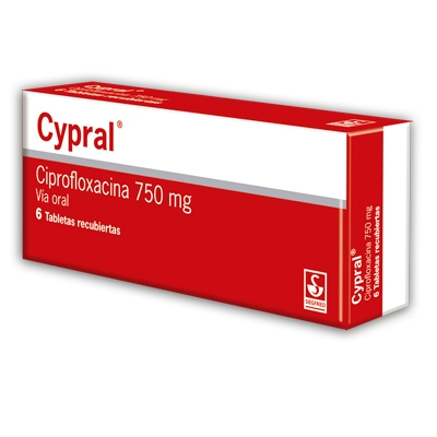 Ciprofloxacina Cypral 750 mg x 6 Tabletas