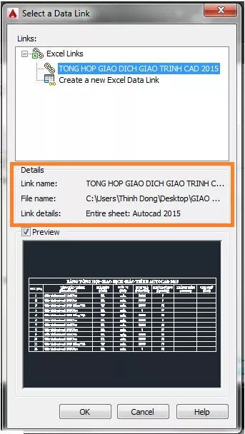 Di chuyển bảng biểu trong Excel sang Autocad