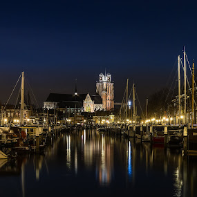 Dordrecht by night by Rémon Lourier - City,  Street & Park  Night ( dordrecht, night scene, waterscape, holland, old town, old city, historic district, cityscape )