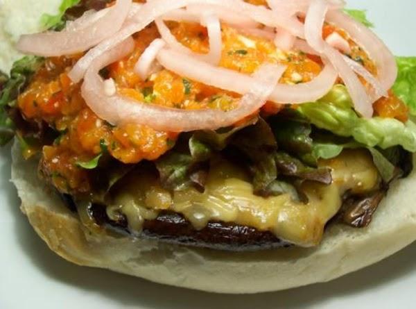 Portobello Burger W/ Roasted Pepper Paste And Smoked Mozzarella Recipe