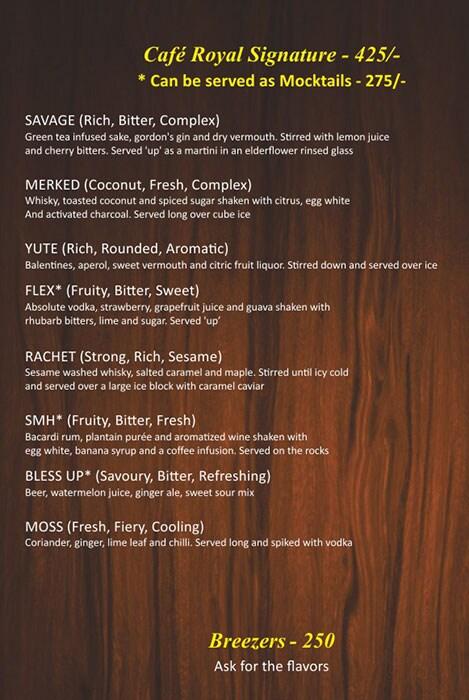 Cafe Royal menu 2
