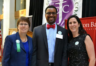 Photo: Elizabeth Soule (MetroWest Legal Services Exec. Director), Rahsaan Hall (Lawyers' Committee for Civil Rights), and BBA Director of Government Relations Kathleen Joyce.