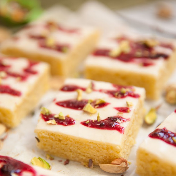 Lemon Thyme Brownies with Stewed Blueberry Icing and Pistachios Recipe