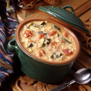 Cheesy Poblano Rice Soup.
