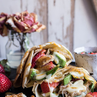 Honey Mustard Pretzel Crusted Chicken and Brie Crepes with Strawberry Basil Salsa..