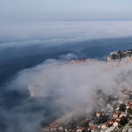 Dubrovnik in fog by Miho Kulušić - City,  Street & Park  Historic Districts ( foggy, dubrovnik, waterscape, fog, weather, stone, landscape,  )