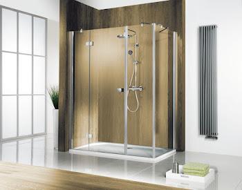 Porte de douche pivotante sur paroi fixe avec paroi latérale, grand large